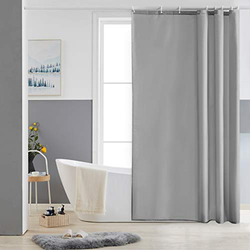 Furlinic Duschvorhang 120x180 Textil Badvorhang aus Polyester Stoff Schimmelresistent Wasserabweisend Waschbar Grau mit 8 Duschvorhangringen.