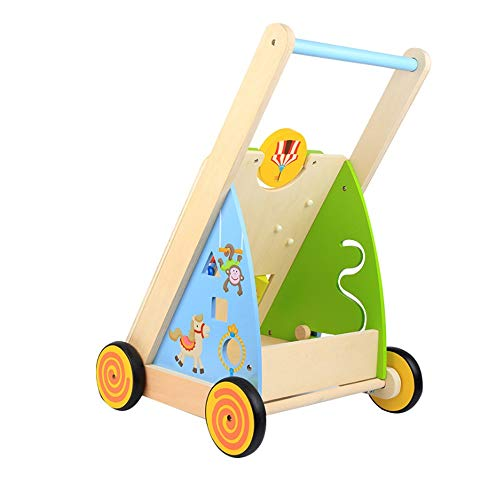 Best Price HOMESROP Wooden Multi-Function Adjustable Speed Anti-Rollover Toddler Rider to Help Walk ...