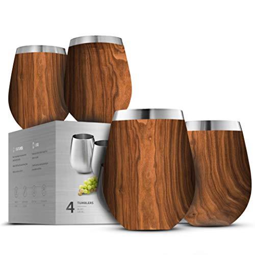 Weingläser aus Edelstahl – Set mit 4 großen und eleganten Weingläsern aus 18/8 Edelstahl, rot/weiß, unzerbrechlich, tragbar, für Outdoor-Veranstaltungen, Picknicks