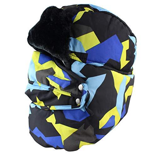 YHZQ Sombrero De Ski, Unisex Winter Outdoor Ear SART SART Hat, Camo Russian Ushanka Hat, Faux Fur Trooper Tropper Pilot Gorras (55-60cm) yellow-55-60cm