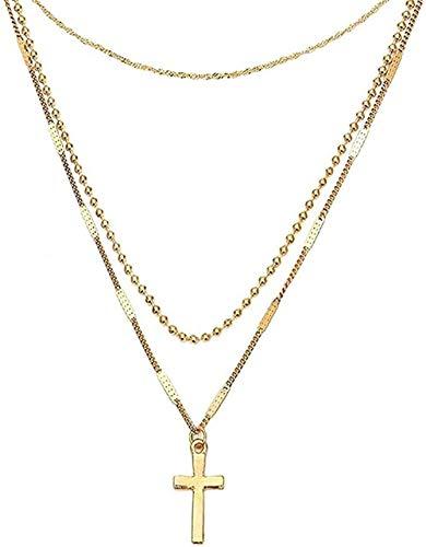 Collar Collares de Perlas Bohemios para Mujer Collar Multicapa Cruzado Vintage Joyería de Fiesta llamativa Nuevo Collar Colgante Regalo para Mujeres Hombres Niñas Niños