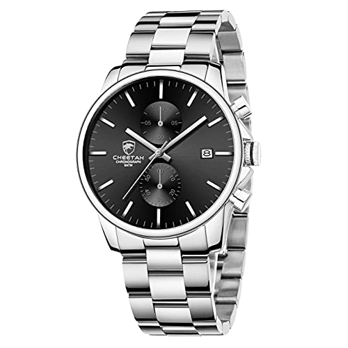 GOLDEN HOUR Men's Watches with Silver Stainless Steel and Metal Casual Waterproof Chronograph Quartz Watch, Auto Date in Black Dial
