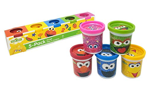 Sesame Street Modeling Dough, 5-Pack, 3oz Cans, Assorted Colors, Elmo, Cookie Monster, Big Bird, Oscar the Grouch, Abby Cadabby, Non-Toxic, Ages 3 and Up