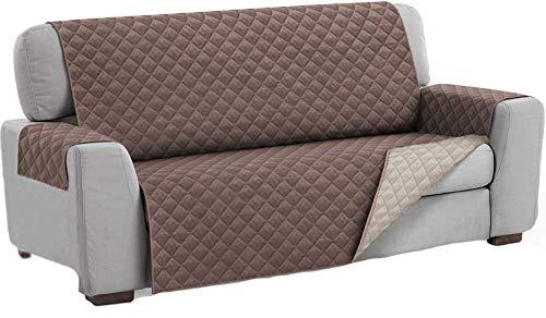 Funda de sofá Impermeable 100gr/m2 Funda de Cojín de protección Ideal para Mascotas Funda de sofá antisuciedad [ Marrón beige - 2 Plazas 223 x 179 cm] Fácil de limpiar Diseño Antideslizante Reversible