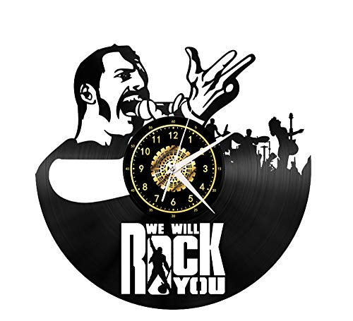"Xiayanmei We Will Rock You Vinyl Record Wanduhr Fan-Kunst-Dekor Originelles Geschenk Einzigartige Dekorative Vinyl Clock Schwarz 12"" (30 cm),I"