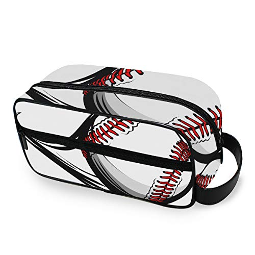 Flying Baseball Makeup Bag Storage Portable Ladies Tools Cosmetic Train Case Travel Toiletry Pouch