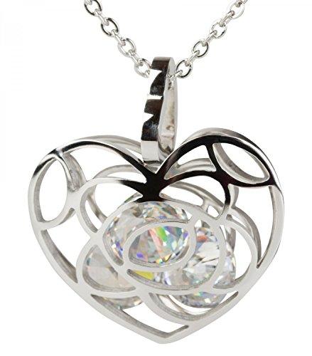styleBREAKER Herz Halskette mit glitzernden Strasssteinen im Anhänger und feiner Panzerkette, Damen 05030017, Farbe:Silber