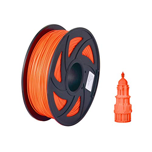 RanRotoy Normal PLA 3D Printer Filament Eco-Friendly Printing Consumables 1.75mm Diameter 1kg(2.2lbs) Spool Dimensional Accuracy +/- 0.05mm Orange