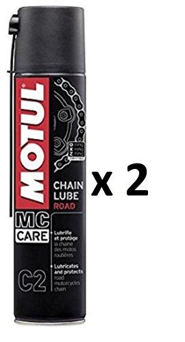 Motul Grasso Spray LUBRIFICANTE Catena Chain LUBE Road MC Care C2 2 BOMBOLETTE da 400ML