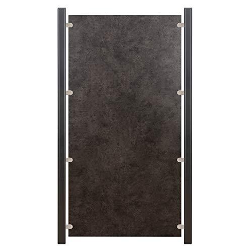 HORI® HPL Garten-Zaun granit-anthrazit I Sichtschutzzaun Komplettset I 1x Schmal + 1x Pfosten I zum Einbetonieren I Pfosten: schwarz