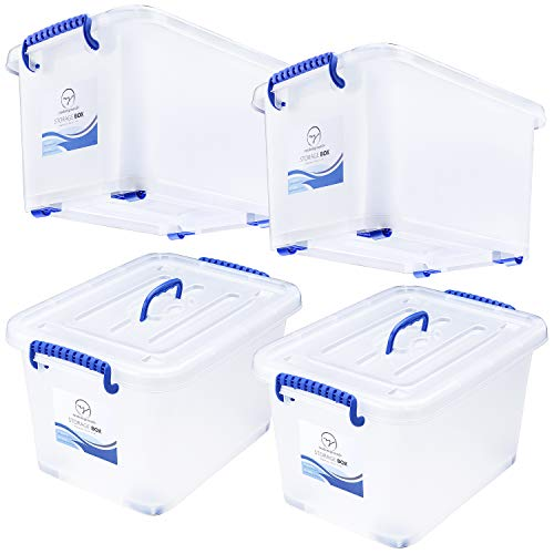 Plastic Storage Bins with Lids and Wheels - Great for Toys Shoes Clothes Bed Craft Tools Closet Pantry Kitchen Office Organization - Stackable Tote Box Containers - Semi Clear White 27 Quart Set of 4