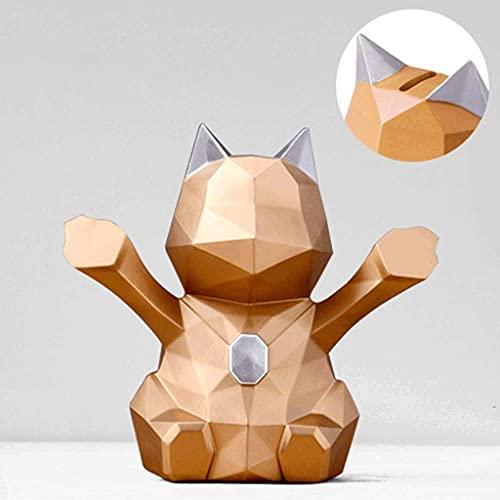 GPWDSN Bank Geometry Stereo Lucky Cats Alcancía Alcancía Tienda Cajero Decoración de recepción (E, 18 * 18 * 10cm)