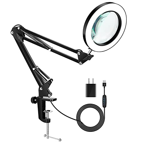 EARYA Magnifying Glass with Light and Stand, 5X Real Glass Lens 8-Diopter Magnifying Lamp, 3 Color Modes 10 Brightness Levels, Hands-Free Adjustable Swivel Arm Magnifier for Close Work, Reading, Craft