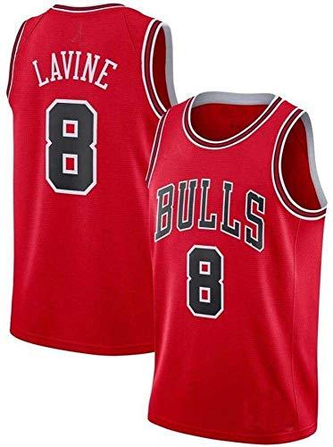 llp NBA Basketball Ropa Torls Team No. 8# Camiseta de Baloncesto Bordado Jersey Retro Transpirable, Absorbente de Sudor y Color-Fast Hombre Sudadera Red-S (Size : Large)