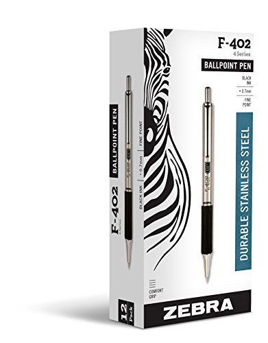 Zebra Pen F402 Retractable Ballpoint Pen, 12 count, Black (29210)