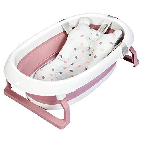 COSTWAY Baby Badewanne faltbar, Babywanne mit rutschsicherer Fußpolster und hängende Schutzmatte, Neugeborenenbadewanne 2 Badepositionen für Neugeborene, Säuglinge und Kleinkinder (Rosa)