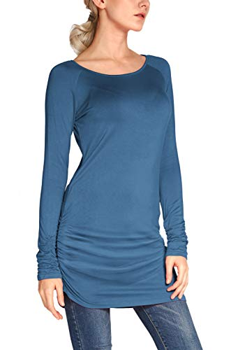 Urban CoCo Women's Casual T-Shirt Long Sleeve Solid Tunic Tops Slim Fit (XL, Ink Blue)
