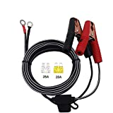 SCCKE 14.8ft / 4.5m 14 AWG Extension Cord Eyelet Terminal with Battery Clamp 12V/ 24V Battery Clip-On for High-Power Inverter,Boat,RV Battery,air Pump,car Fridge,car Cooler,cart Fan and Other Device