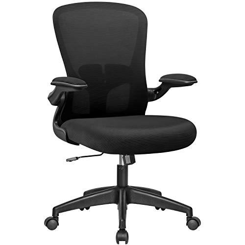 Devoko Office Desk Mesh Mid Back Computer Flip Up Arms Ergonomic Swivel Task Chair with Adjustable Lumbar Support (Black)