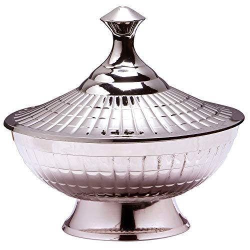 Orientalische Zuckerdosen Dosen aus Messing in Silber Anwar 12cm| Marokkanische Minzdose Tee Kaffee Dose klein | indische Vintage Vorratsdose Gewürzdose rund | Orientalische Dekoration auf dem Tisch