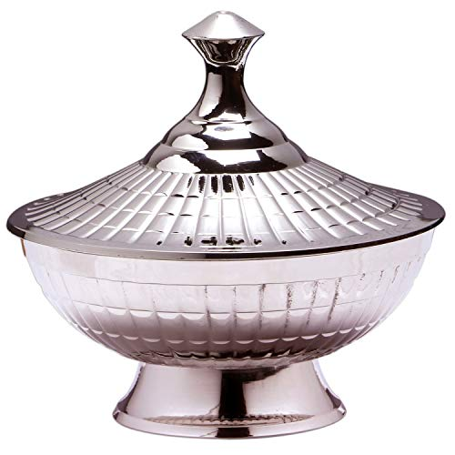 Oosterse suikerpotjes van messing in zilver Anwar 12 cm | Marokkaanse muntpot thee koffie doos klein | Indiase vintage voorraaddoos kruidendoos rond | Oosterse decoratie op tafel