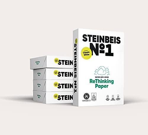 Steinbeis No. 1 ReThinkingPaper Kopier-Papier – DIN A4 Recycling-Papier 80 g/m², Drucker-Papier ISO 70 / CIE 55, Weiß, 5 x 500 Blatt, C1201666080A