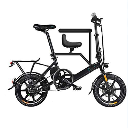 LILIJIA Bicicleta Eléctrica Plegable Aluminio 250 Vatios con Pedal para Adultos y Adolescentes, Bicicleta Eléctrica 16'con Batería Iones Litio Gran Capacidad 36v / 7.5ah,Negro,16 inch/36V