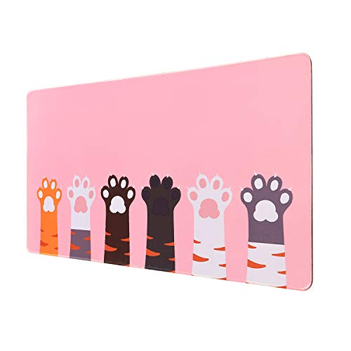 Kusma Pink Gaming Mouse pad, (31.5x15.7 in), Large Mouse Pad XL, Large Non-Slip Rubber Base Mousepad with Stitched Edges, Keyboard Mouse Mat Desk Pad for Work, Game, Office, Home –Pink Pink Cat paw