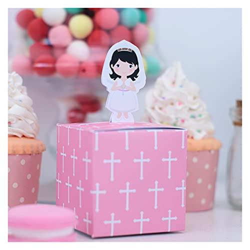 Caja de regalo Primera comunión Chica joven Favor de la caja de regalo bolsa de regalo embalaje de caramelo Santa cruz rosa Bautismo Bautismo Bautismo Celebración personalizada ( Farbe : Style6-5pcs )