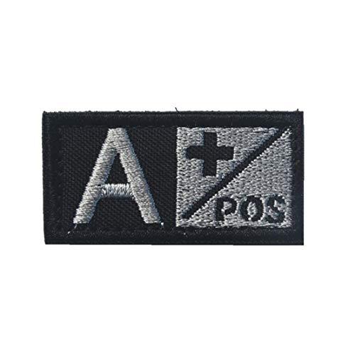 Groupe Sanguin a Pos Badge Morale Durable en Nylon Brodé Insigne Militaire pour Pièces Décoratives Appliques Extérieur Noir
