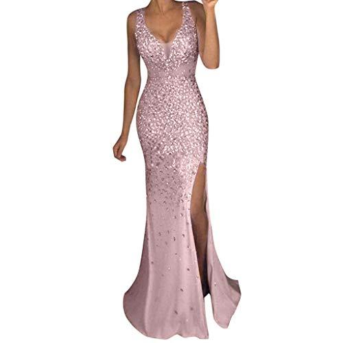AmyGline Damen Kleider Sexy Pailletten Kleid Ballkleid Brautjungfer Kleid V-Ausschnitt Langes Kleid Gold Abendkleid Split Maxikleid Lange Abendkleid Prom Party Kleid (Rosa, XL)