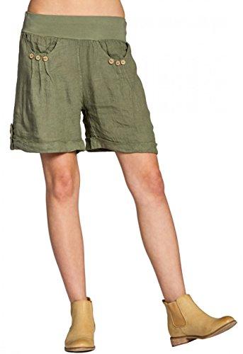 Caspar BST002 Damen Leinen Shorts, Farbe:Oliv grün, Größe:M - DE38 UK10 IT42 ES40 US8