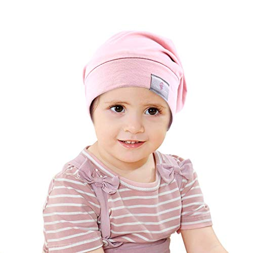 Greatremy Beanie Kids Silky Satin Lined Hair Bonnet Sleep Cap-Adjustable Elastic Band Slouchy Cotton Beanie Hat for Baby Girl Boy Infant Toddler Teens Children Sleeping Curly Hair Light Pink