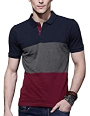 FashCloud Men's Regular Fit Multi Color Polo T Shirt