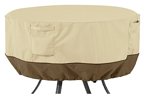 Classic Accessories 55-569-011501-00 Veranda Water-Resistant 50 Inch Round Patio Table Cover,Pebble,Large