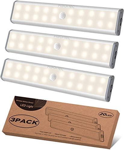 LED Schrankbeleuchtung mit Bewegungsmelder, LED Sensor Licht 20 LED Kleiderschrank Lampen Unterbauleiste Beleuchtung Küchenleuchte, Nachtlicht Schranklicht Stick-On Magnetstreifen (Warmweiß Licht)