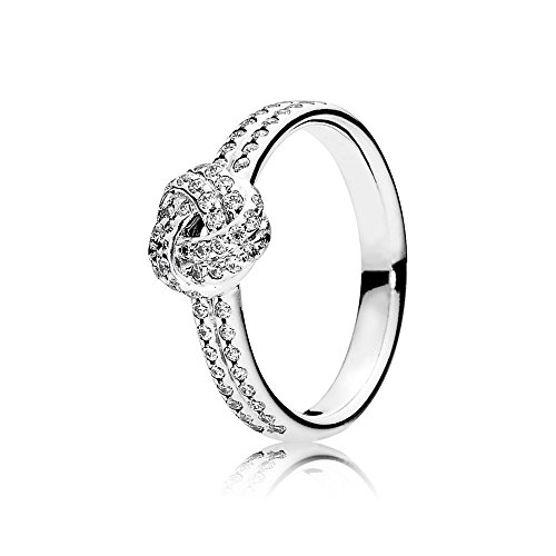 Pandora Jewelry - ShimmeRing for Women Knot Ring for Women in Sterling Silver with Clear Cubic Zirconia, Size 5 US / 50 EURO