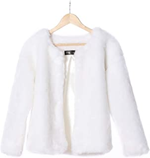 LHJ Women Faux Fur Coats, Women's Fur Jackets 2 Pockets Rabbit Hair Coat Outwear Warm Tops for Winter