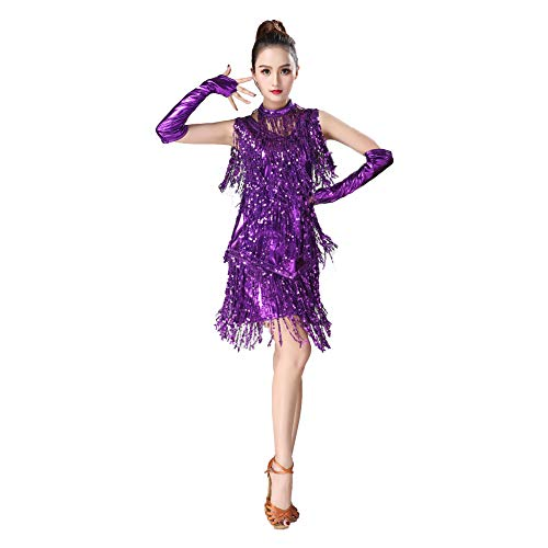 zx-shop Latin Dance Fringed Skirt Sleeveless Sequined Fringed Costume Competition Suit Latin Dance Dance Performance Clothing