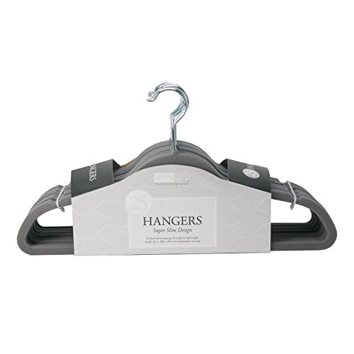 Simplify Velvet Hangers - Clothes Non Slip Space Saving Plastic Hangers for Shirts Pants Skirts Dresses Sweaters Scarves - Wardrobe Garment Hanger - Pack of 25