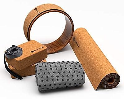 Yoga Mat, Towel, Blocks, Strap Complete 8 Piece Set | Heat Activated Non-Slip Cork by Mandelbrot - Perfect for Hot Yoga, Bikram, and Pilates