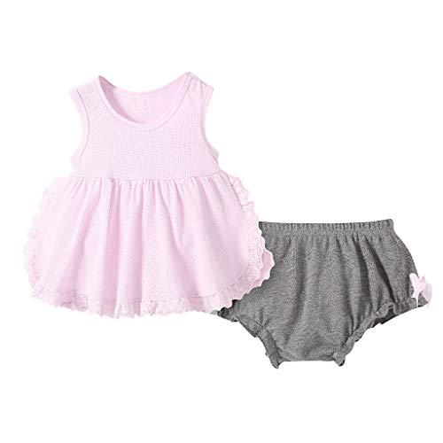 0-5 años de edad, conjunto de trajes para niñas de malla transpirable chaleco sin mangas falda de lazo...