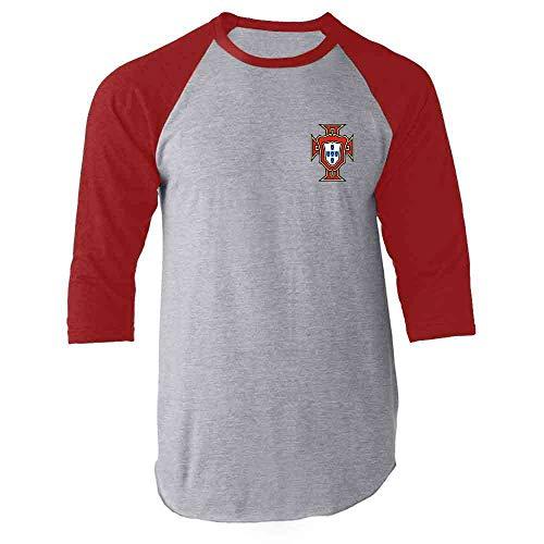 Portugal Soccer Retro National Team Football Red M Raglan Baseball Tee Shirt