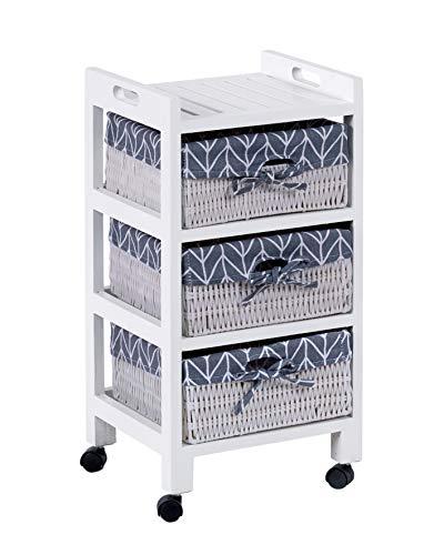 ts-ideen Kiefer Roll Kommode Bad Flur Küchen Regal Schrank Nachttisch in Weiß Kunststoff Körbe 61 x 30 cm
