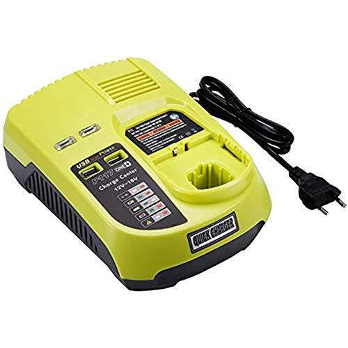 12V 18V P117 Dual Chemistry IntelliPort-Ladegerät für Ryobi-Elektrowerkzeug-Batterieladegeräte Li-Ionen-Ni-Cad-Ni-Mh-Ladegerät MAX für Batterie P100 P102 P103 P105 P107 P108 P200 1400670
