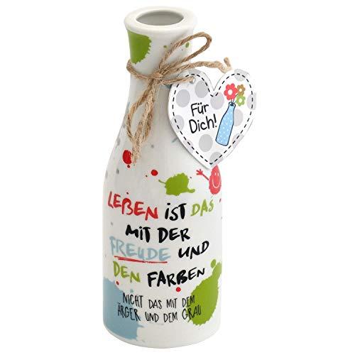 Die Geschenkewelt 45355 Vase mit Text Leben ist das mit der Freude, Porzellan, mit Geschenk-Anhänger