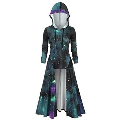 MOTOCO Damen Halloween Vintage Mantel High Low Kleid Bluse Tops Frauen Langarm Mittelalter Cosplay Dress...