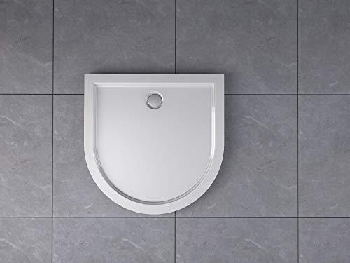 Duschtasse Halbkreis U-Form Duschwanne Acryldusche Brausewanne Halbrund Ablauf Ablaufgarnitur Acryl flach 5cm weiß syphon 80x80 90x90 100x100, Größe:90 x 90 x 5 cm, Ablaufgarnitur:mit Ablaufgarnitur