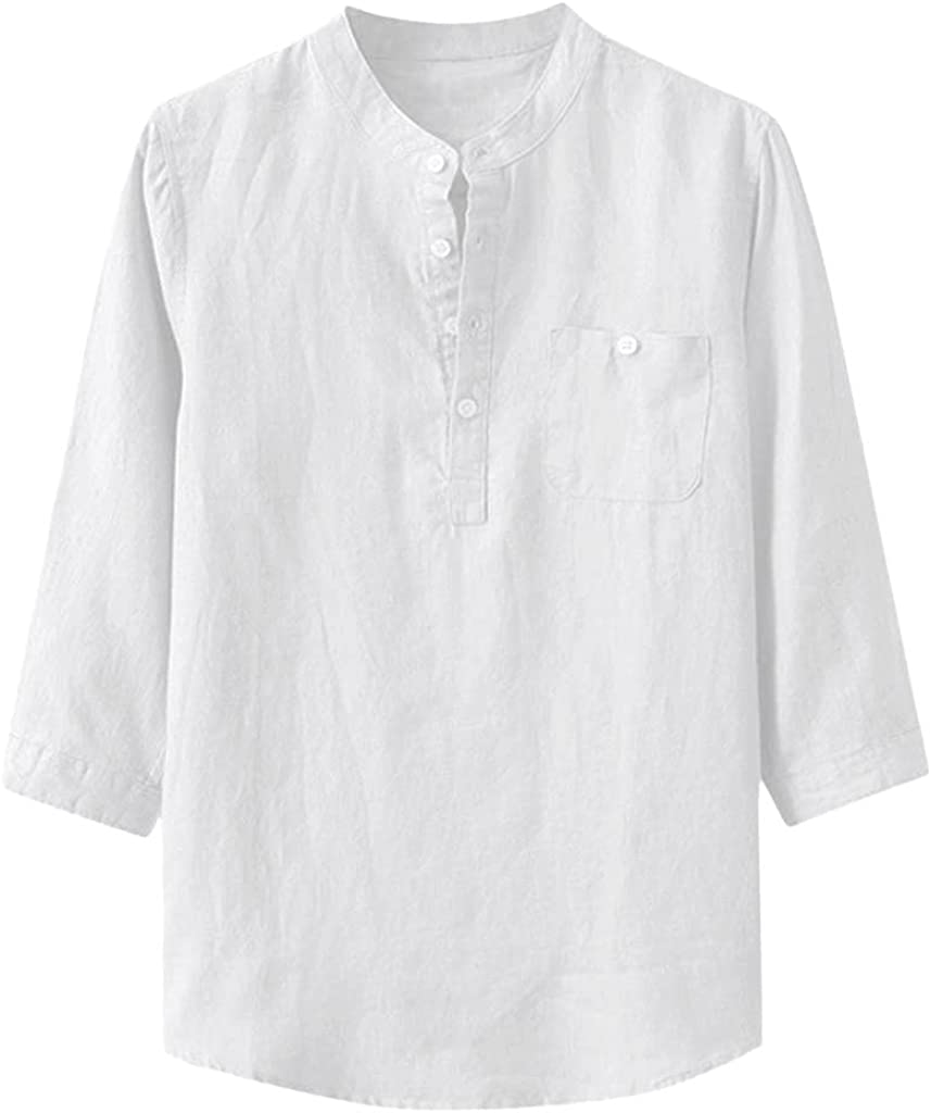 Linen Shirt for Men Summer Casual Loose Long Sleeve Tops Light Breathable Plus Size Tunic Blouse - Limsea