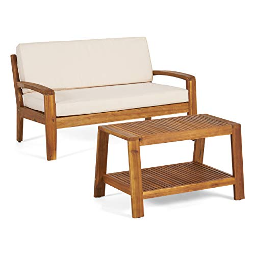 Great Deal Furniture Christian Outdoor Teak Finished Acacia Wood Loveseat and Coffee Table Set with Beige Water Resistant Cushions